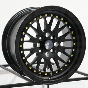 15x8 Avid1 Av12 Av 12 4x100 25 Black Gold Rivets Wheels Rims Set 4