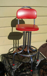 Vtg 1940s 50s Kuehne Red Vinyl Chrome Metal Bar Kitchen Stool Cast Iron Base