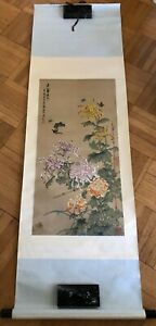 Chinese Butterflies And Flowers Ink Color Scroll Painting On Silk