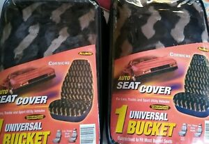 Universal 2 Car Seat Faux Fur Covers Plush Animal Print Brown Black