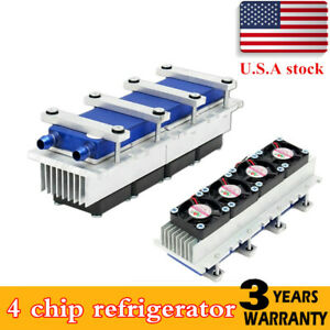 12v 4 Chip Tec1 12706 Thermoelectric Peltier Air Radiator Refrigeration Cooler