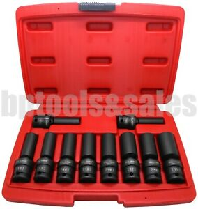 10pc 3 8 Drive Universal Swivel Deep Impact Socket Set Cr Molybdenum metric