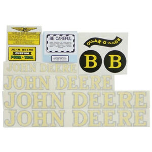 Complete Decal Set For John Deere B Style 1940 1952 Tractor Vinyl Yellow Letters