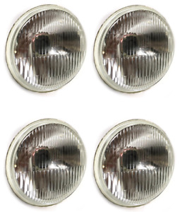 Four 5 3 4 Round H4 Glass Hi Low Headlight Conversion Replacement Kit Led Hid