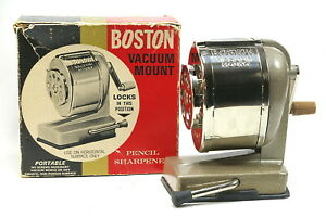 Boston Vacuum Mount Pencil Sharpener In Original Worn Store Box