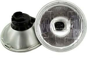 7 Round H4 Glass Lens Hi Low Beam Headlight Lamp Housing Halogen Led Hid 2 Pc