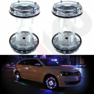 4pcs Car Solar Wheel Center Cap Light Transformers Rim Hub Led Colorful Flash
