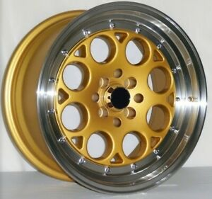 1 One 16 Drift Racing 16x8 15 Cb 73 10 4 Lug Honda Acura Wheel Rims Gold