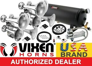 Train Horn Kit For Truck car pickup Loud System 4g Air Tank 200psi 8 Trumpets