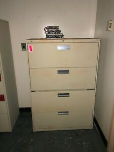 Hon Tan Metal Filing Cabinet With Four Drawers 3 w X 19 d X 53 h