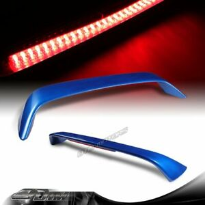 For 1996 2000 Honda Civic Coupe Painted Blue Rear Trunk Spoiler Wing Led Brake