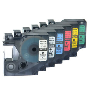 6pk 45010 45013 45016 45018 45017 45019 Label Tape For Dymo D1 Labelmanager 12mm