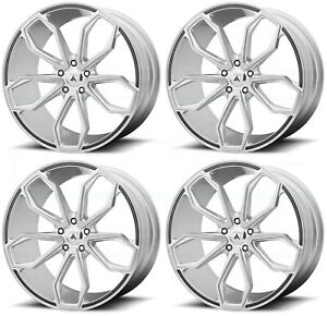 20x8 5 Asanti Black Abl 19 Athena 5x120 38 Brushed Silver Wheels Rims Set 4