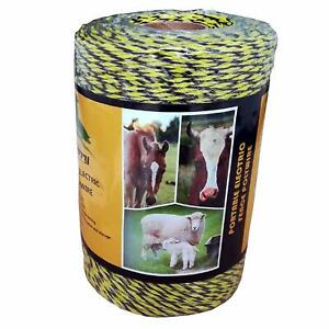 Farmerry Portable Electric Fence Polywire With 6 Conductors Yellow And Black 1