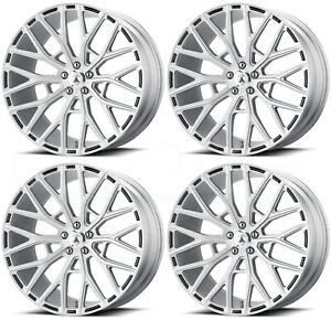 20x9 Asanti Black Abl 21 Leo 5x112 35 Brushed Silver Wheels Rims Set 4