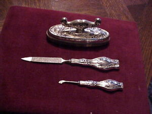 Antique Victorian Sterling Silver Vanity Dresser Set 3 Pieces