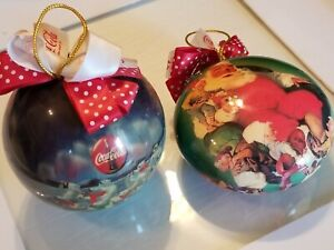 Vintage Coca cola Christmas Ornaments Lot Of 2 94 and 95 excellent shape