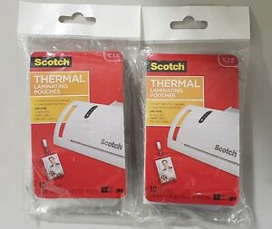 Scotch Thermal Laminating Pouches 2 X 4 2 Pack Total 20 Pouches New