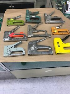 Large Lot Of 9 Used Staple Guns Stanley Arrow Bostitch And Others Free Shipping