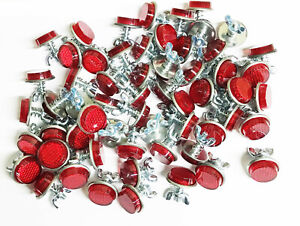 20 Red Mini Reflectors License Plate Motorcycle Bike Truck Trailer Bb 52076r