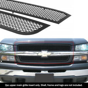 Fits 2003 2005 Chevy Silverado 1500 03 04 2500 Upper Stainless Black Mesh Grille