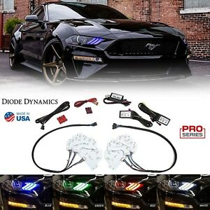 Rgbwa Led Multi color Changing Headlight Accent Drl Set For 2018 19 Ford Mustang