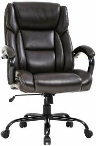 500 Lb Heavy Duty High Back Tall Desk Executive Ergonomic Leather Brown Chair