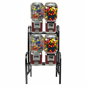 4 Unit Classic Gumball Vending Machines On Rack Stand