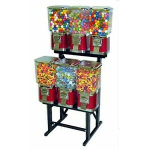 6 Pro Line Vending Machines On Black Rack Stand