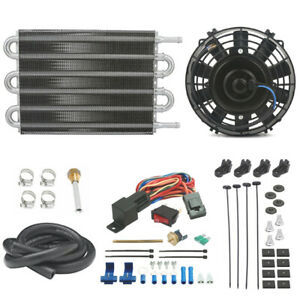 Engine Transmission Oil Cooler Electric Motor Fan Thermostat Switch Towing Kit