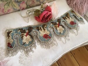 Lovely Antique Victorian Needlework Valance Beaded Trim Floral A