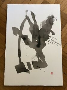 Modern Chinese Japanese Original Abstract Ink Brush Calligraphy Painted On Paper