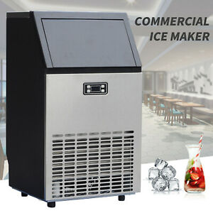 Commercial Ice Maker Stainless Steel Built in Ice Cube Machine Undercounter 100