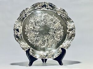 Stunning Vintage 14 Inches Diameter Towle Silver Plated Tray