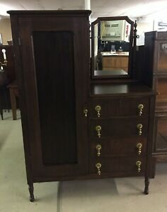 Vintage Mahogany Chifferobe With Mirror Dresser Chest With Tear Drop Pulls