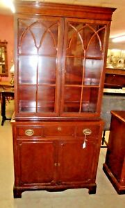 Outstanding Step Back Mahogany China Cupboard Cabinet 12 Pane