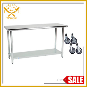 24 X 60 Stainless Steel Work Table Kitchen Prep Commercial W 4 Caster Wheels