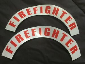 Reflective Firefighter Helmet Crescents Decal Set Red Set Of 2