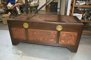 Vintage Antique Chinese Rosewood Hand Carved Camphor Interior Trunk J L George