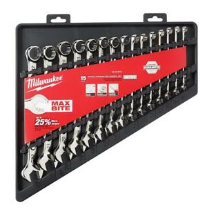 Milwaukee 48 22 9515 Max Bite Open End Combination Metric Wrench Set 15pcs