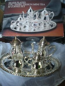 Godinger Art Co Silver Plated Mini Tea Coffee Sets Teapot Creamer Sugar 5 Piece
