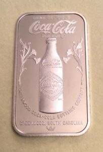 COCA COLA GREENWOOD SOUTH CAROLINA 75TH ANN,1 oz 999 SILVER BAR. (877 MINTED)