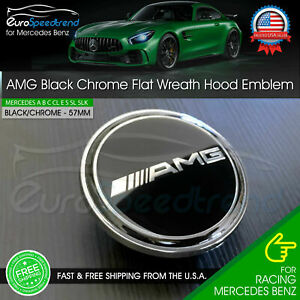 Amg Classic Front Hood Black Emblem Flat Laurel Wreath Badge Mercedes Benz 57mm