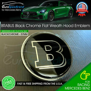 Brabus Front Hood Black Emblem Flat Laurel Wreath Badge Amg Mercedes Benz 57mm