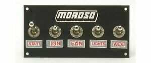 Moroso Switch Panel Aluminum Black 5 Wide 2 5 Tall 5 Toggle Switches Each