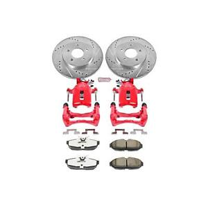 Power Stop Brake Pads Calipers Drilled slotted Rotors Rear Ford Kit Kc1384 26