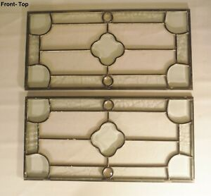 Set Of 2 Vintage Beveled Stained Glass Window Panel 20 1 4 X 10 Each