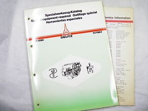 Deutz Special Equipment Catalog Shop Tools 11 1983 With Update Pages