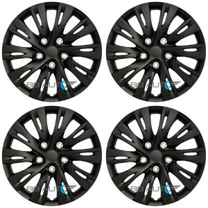 16 Set Of 4 Black 5 Lug Wheel Covers Hubcaps Snap On Fits R16 Tires Steel Rims