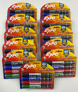 Expo Dry Erase Markers With Ink Indicator Chisel Tip Assorted Colors Pack 4 Mark